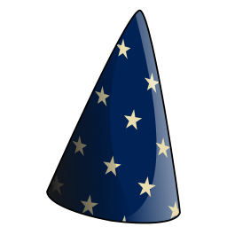 SPIN-Scorcerer Logo, a sorcerer's or wizard's pointed blue hat with yellow stars on it
